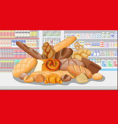 bread products in shopping mall vector image
