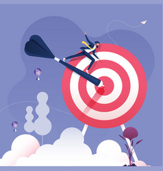 businessman rides on darts to target vector image