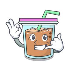 Call me bubble tea mascot cartoon vector