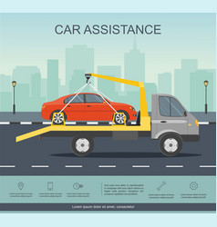 Car evacuator drive with red car on the road vector