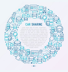 Car sharing concept in circle with thin line icons vector