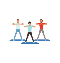 Cartoon men doing sport exercise three young guys vector