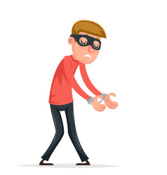 Caught handcuffs burglar robber thief scared guy vector
