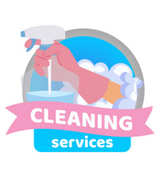Cleaning service badge with detergent spray in vector