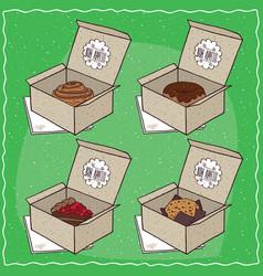 Confectionery set in carton boxes vector