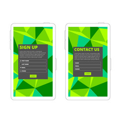 Contact us and sign up form vector