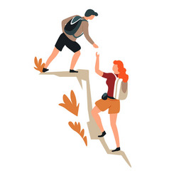 Couple climbing mountains hiking man and woman vector