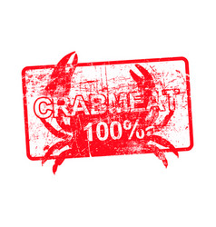 crabmeat 100 percent - red rubber dirty grungy vector image vector image