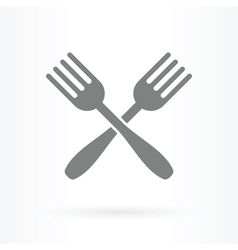 crossed forks icon vector image