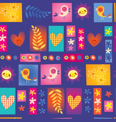 Cute flowers birds collage nature pattern vector