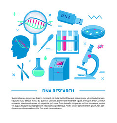 Dna research medical banner template in flat style vector
