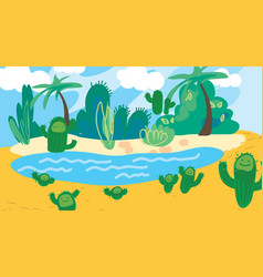 Doodle cartoon desert oasis with palm cacti vector