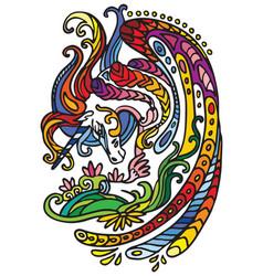 Doodle rainbow unicorn vector