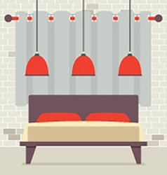 Double Bed With Red Ceiling Lamps In Front Of vector image