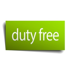Duty free green paper sign isolated on white vector