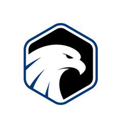 Eagle head in polygon shape logo vector
