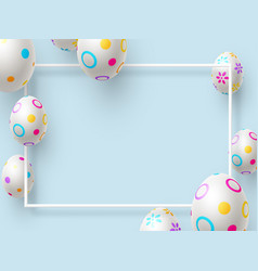 easter holiday background with 3d painted eggs vector image