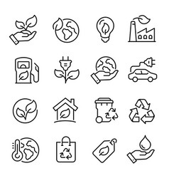 Ecology line art icon set nature and environment vector