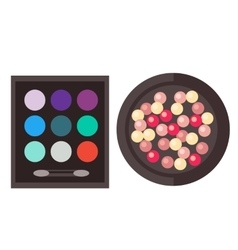 Eyeshadow and rouge isolated vector