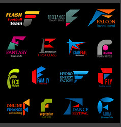 F letter modern trendy corporate identity icons vector