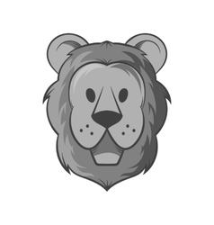 Face of a lion icon black monochrome style vector