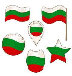 flag of bulgaria performed in defferent shapes vector image
