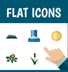 Flat icon natural set of solar cascade peak and vector