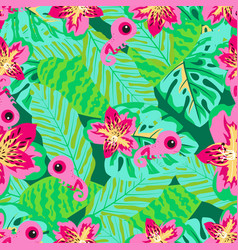 floral pattern with chameleon vector image