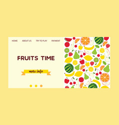 fruit pattern landing page fruity vector image