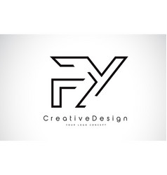 Fy f y letter logo design in black colors vector