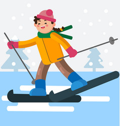 Girl skiing on a flat ground vector
