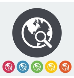 Global search single icon vector image