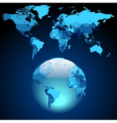 Globe on dark blue World map vector image