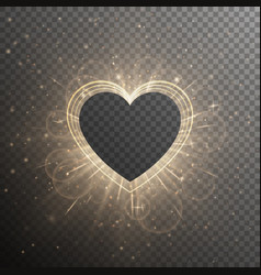 Gold background with frame heart vector