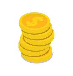 gold coins stack isometric 3d icon vector image