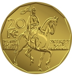 gold Money twenty czech crones coin vector image