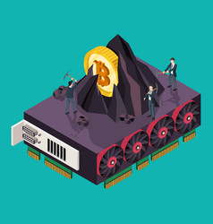 Gpu mining bitcoin concept isometric vector