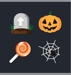 grave in cemetery orange halloween pumpkin vector image