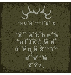 grunge hunting alphabet with horns vector image