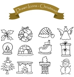 Hand draw of Christmas icons set vector