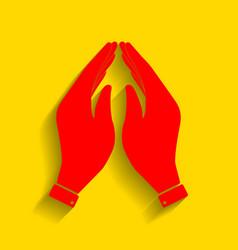 hand icon prayer symbol red vector image