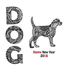 Handdrawn dog text and animal vector