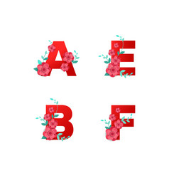 i alphabet made flowers leaves vector image