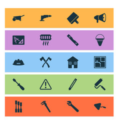 industrial icons set with chisel caution vector image