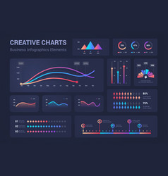 Infographic graphs diagrams pie charts progress vector