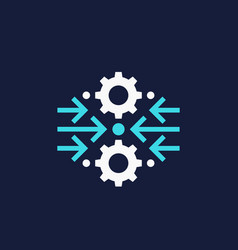 Integration optimization icon with gears vector