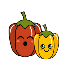 Kawaii happy and funny peppers vegetable icon vector