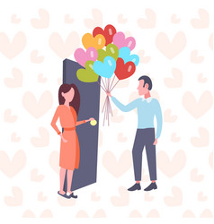 man giving woman colorful heart shape air balloons vector image