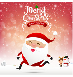 Merry christmas santa claus cartoon running on vector