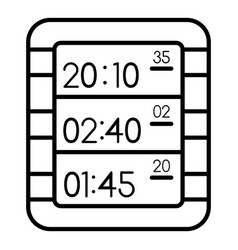 multi display digital clock icon outline style vector image